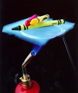 crayons on top of the aerogel are protected from the flame underneath, and are not melting