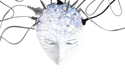 a white bald headed person looking down with circuits on their head and wires coming out.