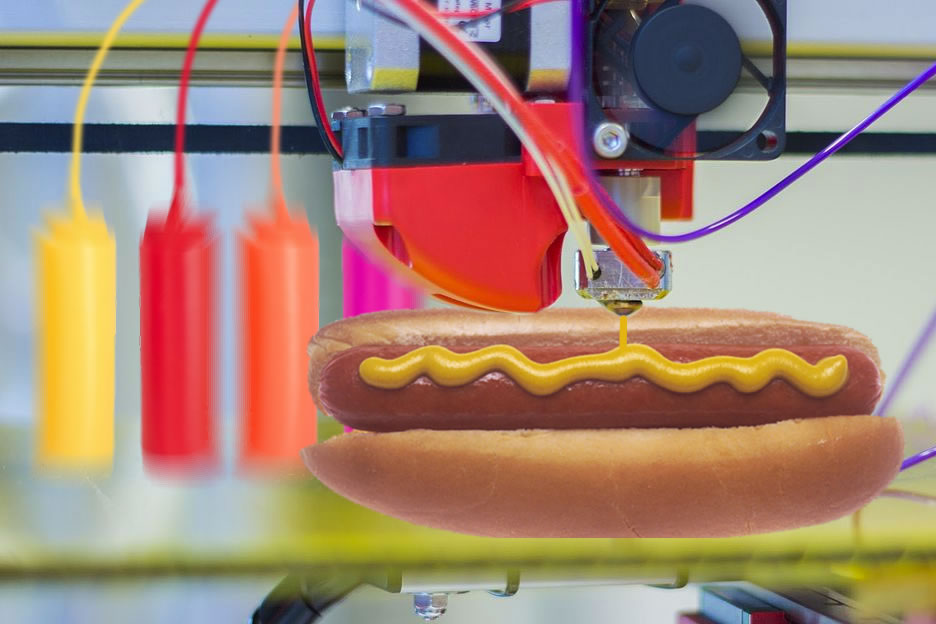 future of food 3d printing of a hot dog